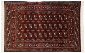 4×6 Vintage Bokhara Oriental Burgundy Hand-Knotted Rug