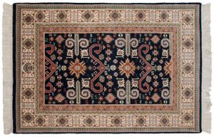 4×6 Caucasian Oriental Blue Hand-Knotted Rug