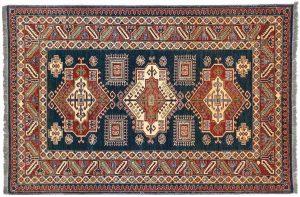 4×6 Kazak Oriental Blue Hand-Knotted Rug
