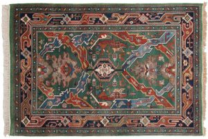 4×6 Geometric Oriental Green Hand-Knotted Rug