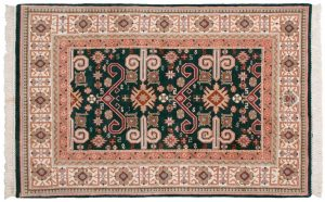 4×6 Caucasian Oriental Green Hand-Knotted Rug