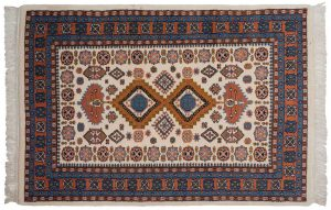 4×6 Shirvan Oriental Ivory Hand-Knotted Rug