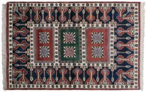 4×6 Geometric Oriental Red Hand-Knotted Rug