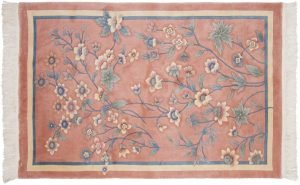 4×6 Vintage Kashan Oriental Peach Hand-Knotted Rug
