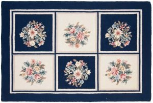 4×6 Vintage Block Oriental Ivory Hooked / Loop Texture Rug