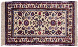 4×6 Vintage Derbend Oriental Ivory Hand-Knotted Rug