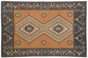 4×6 Vintage Dhurrie Oriental Orange Dhurrie Cotton Rug