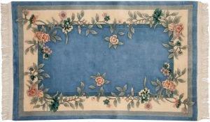 4×6 Vintage Floral Oriental Blue Hand-Knotted Rug