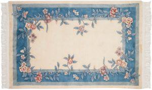 4×6 Vintage Floral Oriental Ivory Hand-Knotted Rug