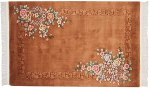 4×6 Vintage Floral Oriental Rust Hand-Knotted Rug