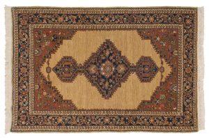 4×6 Hamadan Oriental Beige Hand-Knotted Rug