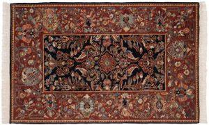 4×6 Hamadan Oriental Black Hand-Knotted Rug
