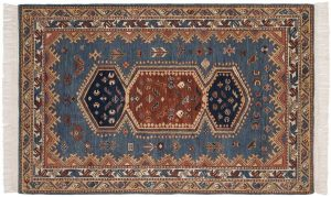 4×6 Hamadan Oriental Blue Hand-Knotted Rug