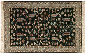 4×6 Hamadan Oriental Green Hand-Knotted Rug