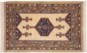 4×6 Hamadan Oriental Ivory Hand-Knotted Rug