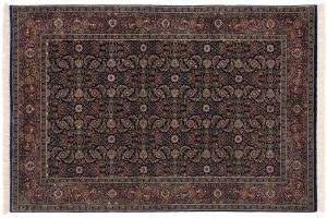 4×6 Herati Oriental Blue Hand-Knotted Rug