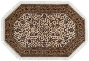 4×6 Kashan Oriental Ivory Hand-Knotted Octagon Rug