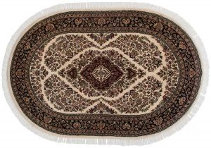 4×6 Kashan Oriental Ivory Hand-Knotted Oval Rug