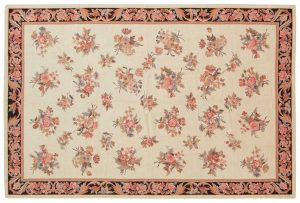 4×6 Aubusson Oriental Ivory Fine Needlepoint Weave Rug