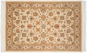 4×6 Kashan Oriental Ivory Hand-Knotted Rug