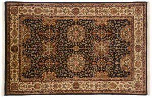 4×6 Jaipur Oriental Black Hand-Knotted Rug