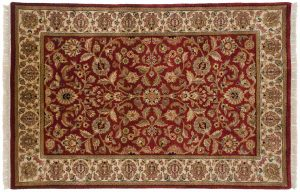4×6 Jaipur Oriental Red Hand-Knotted Rug