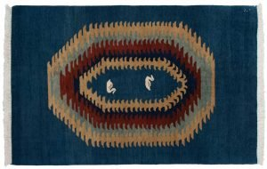 4×6 Vintage Kabul Oriental Blue Hand-Knotted Rug