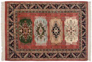 4×6 Kafkaz Oriental Red Hand-Knotted Rug