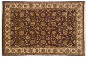 4×6 Kashan Oriental Brown Hand-Knotted Rug