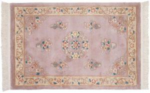 4×6 Vintage Peking Oriental Mauve Hand-Knotted Rug