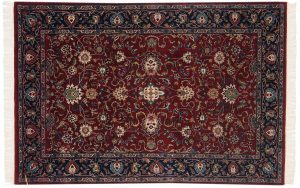 4×6 Meshed Oriental Burgundy Hand-Knotted Rug