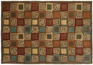 4×6 Block Oriental Multi Color Hand-Knotted Rug