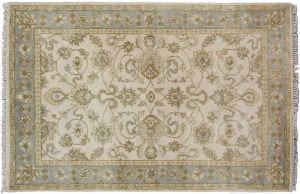 4×6 Oushak Oriental Ivory Hand-Knotted Rug