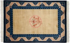 4×6 Vintage Peking Oriental Gold Hand-Knotted Rug