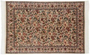 4×6 Floral Oriental Ivory Hand-Knotted Rug