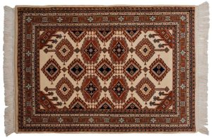 4×6 Vintage Salore Oriental Ivory Hand-Knotted Rug