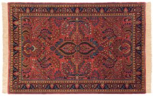 4×6 Sarouk Oriental Rose Hand-Knotted Rug