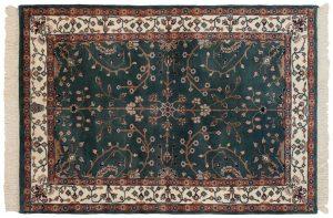 4×6 Vintage Sarouk Oriental Teal Hand-Knotted Rug