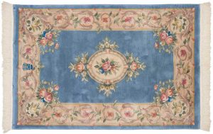4×6 Semi-Antique Savonnerie Oriental Blue Hand-Knotted Rug