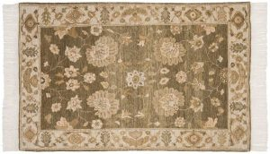 4×6 Sultanabad Oriental Green Hand-Knotted Rug