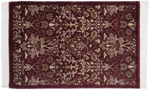 4×6 William Morris Oriental Burgundy Hand-Knotted Rug