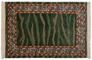 4×6 William Morris Oriental Green Hand-Knotted Rug