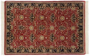 4×6 William Morris Oriental Red Hand-Knotted Rug
