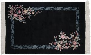 4×7 Floral Oriental Black Hand-Knotted Rug
