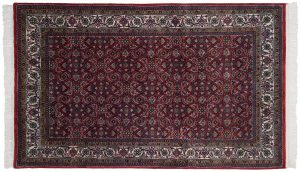 4×7 Vintage Bijar Oriental Red Hand-Knotted Rug