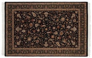 4×7 Isfahan Oriental Black Hand-Knotted Rug