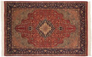 4×7 Isfahan Oriental Red Hand-Knotted Rug