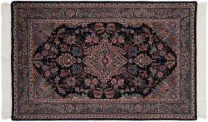 4×7 Kashan Oriental Black Hand-Knotted Rug