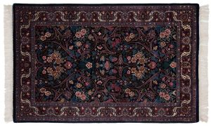 4×7 Kashan Oriental Blue Hand-Knotted Rug