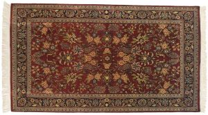 4×7 Kashan Oriental Red Hand-Knotted Rug